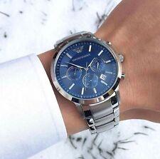 NEU Emporio Armani AR2448 Herrenuhr Armbanduhr Edelstahl Chronograph Silber Blau