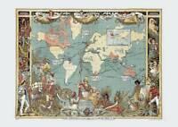Colour Repro Antique Victorian British Empire Decorative Britannia Old Map 1886