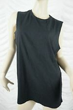ASOS black 100% cotton raw edged sleeveless tank top size 14 BNWT