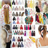 Double Layer Chiffon Bow Long Ribbon Scrunchie Hair Scarf Rubber Band Hair Tie A