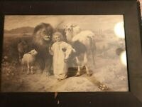 """Antique 1896 Sepia Lithograph Print """"Peace"""" By William Strutt Isaiah 11:6-7"""