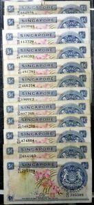 "RARE 1967-72 SINGAPORE ORCHID Series $1 Dollar 12pcs""RUST&CRACK""(+1 note)#17222"