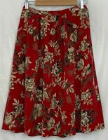 Alfred Dunner Womens Skirt Knee Length Red Floral Print Elastic Waist Pockets 10