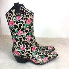 Nomad Yippy Rubber Rain Boots Women Size 8 Rose Leopard Print Cowboy Western e38ba112d404