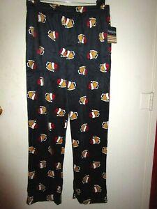 NWT Mens Fleece Pajamas Sleep Lounge Pants Size L Beer Steins With Santa Hats