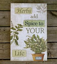 HERB DESIGN WALL SIGN  PLAQUE  KITCHEN DECOR NEW HERBS ORGANIC HERBAL REMEDIES