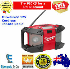 Cordless Jobsite Radio 12V MP3 Player Compartment 8 Hour RunTime Skin Only