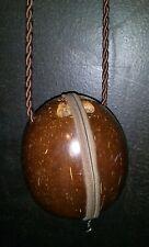 Polished Brown Coconut Shell Zipper Purse Bag Crossbody