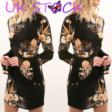 UK Ladies Floral Printed Tunic Dress Black Long Bell Sleeve Fitted Waist Dresses