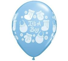 Boy Baby Shower Balloons It's a Boy Buttons & Bows Qualatex Balloons 25 Per Pack