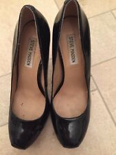 Women's Steve Madden Patent Black Hidden Platform Court Shoes 39 UK6 Were £9.99