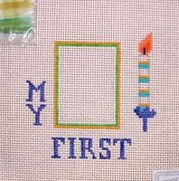 JG My First Birthday Picture Frame HP Handpainted Needlepoint Canvas
