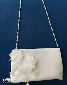 Brauttasche mit Blume Perle Braut Tasche weiß z. Brautkleid Hochzeit