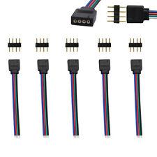 5 X conector hembra de 4 Pines Macho + Cable de Alambre para RGB LED Flexible tiras 3528 5050