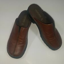 Predictions Shoe Brown Leather Comfort Slide Slip On Flat Casual Womens Size 8