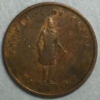 1852 Half Penny Un sou Province du of Canada Quebec Bank Token #ZS150