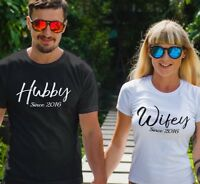 Custom Hubby and Wifey T-Shirt Couples couple year Pair his hers love matching