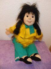 Alte Dresdner Künstlerpuppe -  Indianerin, Künstler Puppe 50 cm mit Zertifikat
