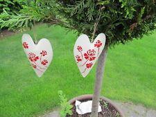 2x Deko Metall Herz 17x10cm hellbeige/rot mit Blumen, vintage, Landhausstil NEU