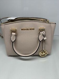 Michael Kors Maxine Small Leather Messenger Bag shoulder Purse Soft Pink NWT