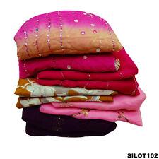 VINTAGE INDIAN SARI DESIGNER TEXTILE FABRIC WOMEN DRESS LOT OF 5 SAREE SILOT102