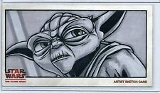 YODA Topps STAR WARS CLONE WARS Widevision SKETCH by JOE CORRONEY
