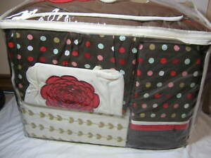 6 pc BEANSPROUT Sarafina CRIB BEDDING SET & Musical Mobile FLORAL BROWN NIP