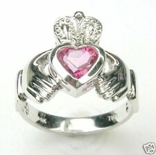 DIAMOND CLADDAGH RING WITH CR MYSTIC PINK 14K GOLD (or other gemstones choices)