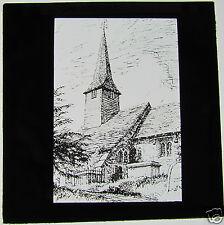 INTERESTING Glass Magic lantern slide PENCIL SKETCH OF CROWHURST CHURCH   C1900
