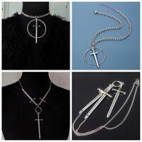 Men Trending Medieval Jewelry Punk Goth Gothic Necklace Swords Pendant Choker