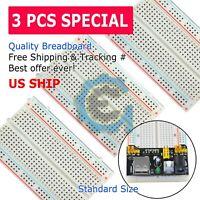 3X 400 Point Solderless Prototype PCB Breadboard Protoboards 3Pcs US