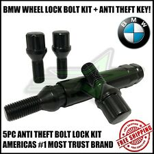 Black BMW 12x1.5 Locking Bolt Wheel Locks Steel + Anti Theft Key OEM Shank Bolts