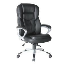Office Desk Chair Leather Executive Adjustable Swivel Seat Headrest Black