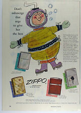 Vintage 1955 ZIPPO LIGHTER 2/3 Page Large Magazine Print Ad