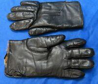 Vintage BLACK LEATHER Heavyweight Gloves RABBIT FUR LINED Warm & Cozy SZ 7
