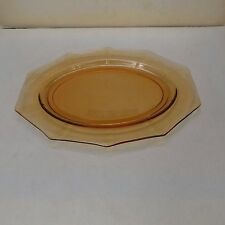 Vintage Depression Glass - Amber Decagon Serving Dish