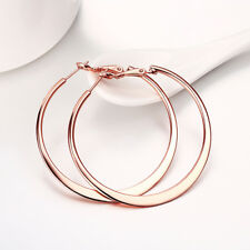18K Rose Gold Plated Round Flat Hoop Earrings - By Aventura Jewelry