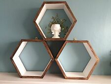 *3* HEXAGON SHELVES SCANDI MODERN RETRO GEOMETRIC WALL DISPLAY GIFT IKEA