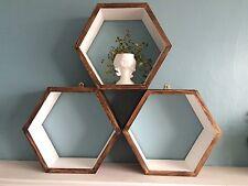 * 3 * HEXAGON SCAFFALI Scandi Moderno Geometrico Retrò Regalo di visualizzazione muro Ikea.
