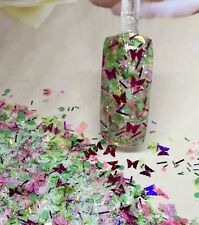 glitter mix acrylic gel nail art  RASPBERRY BUTTERFLY limited edition