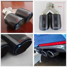 1 Pcs 63-89mm Real Carbon Fiber+Chrome Blue Car Refit Dual Exhaust Pipe Tail Tip