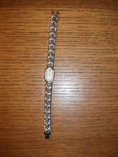 PULSAR Ladies Rectangle Watch Wristwatch Silver Band Mother of Pearl Face