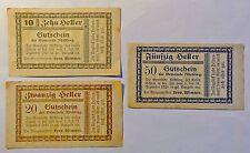 Notgeld / Gutschein Gemeinde Nöchling - 1920 - 10 + 20 + 50 Heller (B22