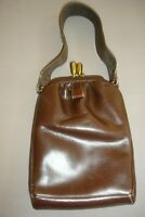 1930's Vintage Ladies' Handbag / Purse~ Dark Brown Faux Leather ~ Good Condition