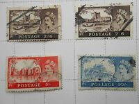 4 Queen Elizabeth II Gt.Britain Used stamps of Wildings Castles Pre-Decimal
