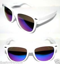 Wayfarer Large Frame Nerd Sunglasses White Frame Blue Green Mirror Lens 63mm