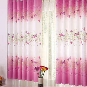 1PC Pink Eyelet Butterfly Bedroom Finished Curtain Kids Floral Window Curtains