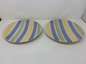 """CRATE and BARREL Sanibel 2 Plates White with BLUE YELLOW & GREEN Stripes 11"""""""
