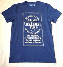 T-Shirt adidas Gr. S Blau Shirt Kurzarm Silber blue silver Retro Design 3 Riemen