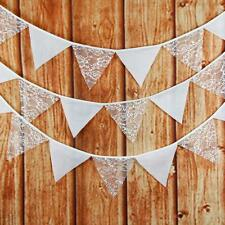 3.2M 12 Flags Lace Cotton Bunting Banner Pennant Wedding Birthday Party Decor